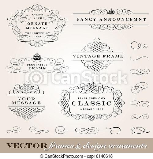 vector, lijstjes, vastgesteld ontwerp, versieringen - csp10140618