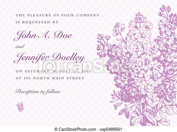 Vector Lilac Bouquet and Purple Background - csp5489561