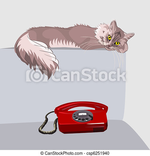 vector lilac fluffy tabby cat with yellow eyes - csp6251940