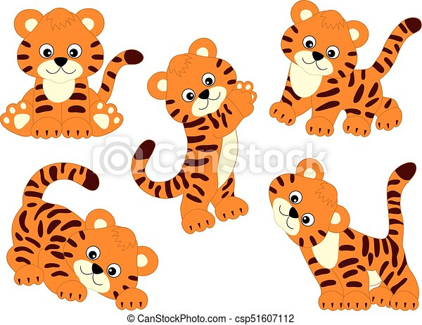 Vector set de lindos tigres de dibujos animados - csp51607112