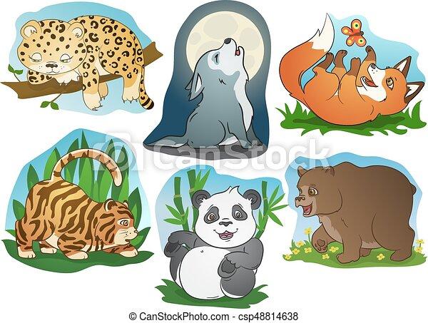 Lindo vector de animales de dibujos animados - csp48814638