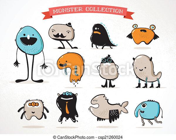 Lindos monstruos, un conjunto de ilustraciones vectoriales - csp21260024