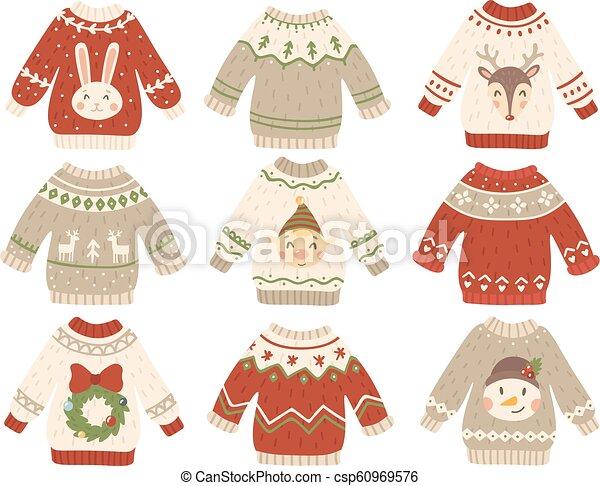Lindo jersey navideño. Sudadera fea de Navidad con gracioso muñeco de nieve, ayudantes de Santa y barba de Santa. Vector de saltos de moda de invierno fijado - csp60969576