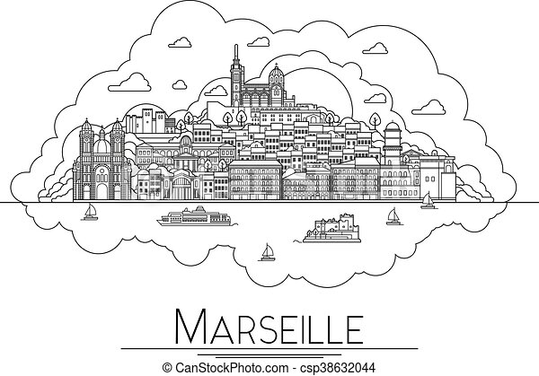 Vector line art Marseille, France, travel landmarks and architecture icon. The most popular tourist destinations, city streets, cathedrals, buildings, symbols in one illustration - csp38632044