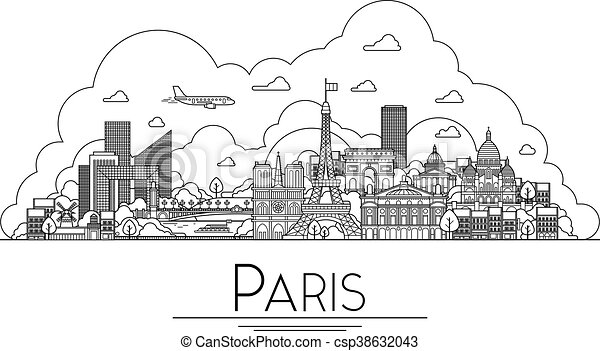 Vector line art Paris, France, travel landmarks and architecture icon. The most popular tourist destinations, city streets, cathedrals, buildings, symbols in one illustration - csp38632043