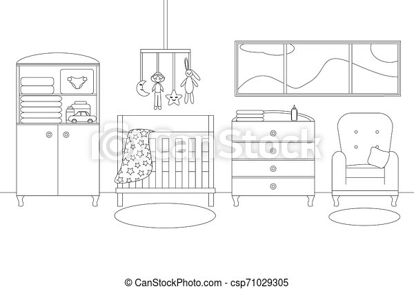Vector Line Illustration Of Baby Boy S Room With Furniture White And Black Outline Sketch Of Home Related Vector Modern Canstock