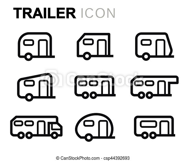 Vector line trailer icons set - csp44392693