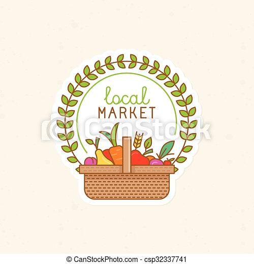 Vector linear badge - local market  - csp32337741