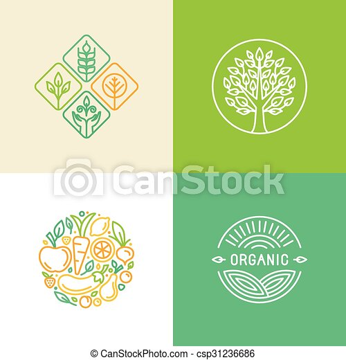 Vector linear logo design template and badges - csp31236686