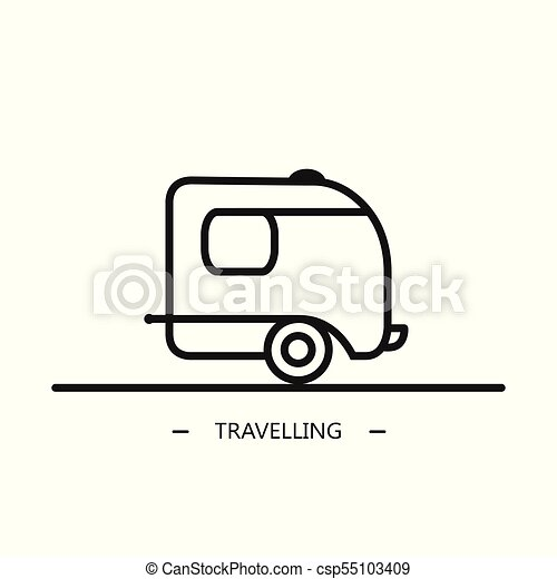 Vector Linear Style Camping Trailer On The White Background
