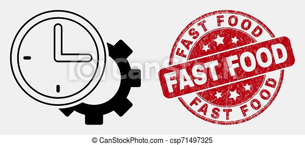 Vector Linear Time Settings Gear Icon And Scratched Fast Food Stamp Seal Vector Stroke Time Settings Gear Pictogram And Fast
