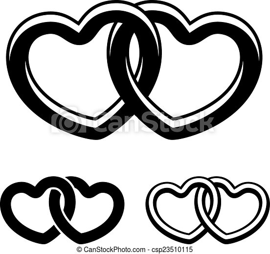 vector linked hearts black white symbols - csp23510115