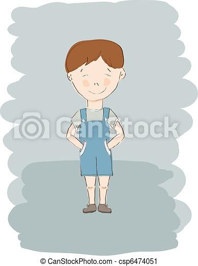 vector little boy in blue shorts - csp6474051