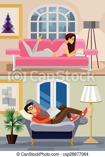 Vector living room with boy and girl. flat illustration.