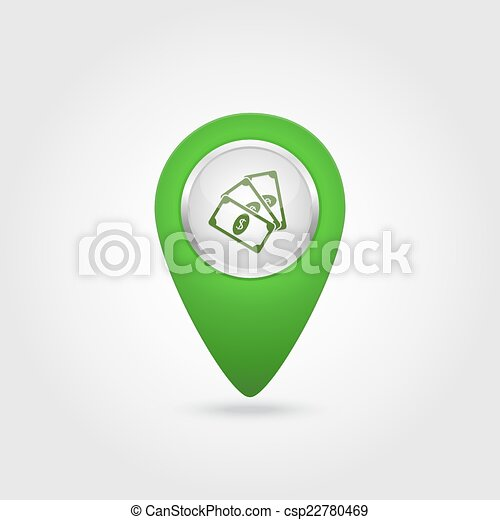 Vector location green icon with money sign - csp22780469