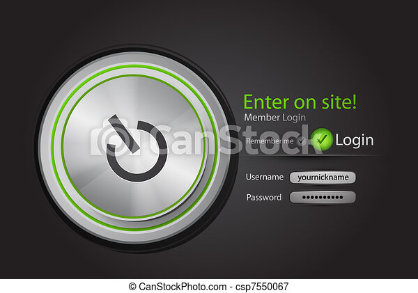 Vector login page with tune button - csp7550067