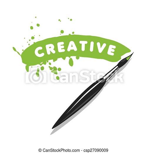 vector logo brush and green paint - csp27090009