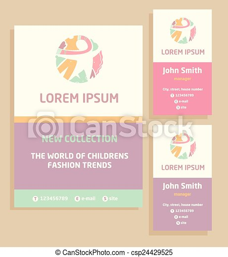 Vector logo flyer and business card for a childrens clothing store vector logo flyer and business card for a childrens clothing store template advertising for childrens clothing reheart Gallery