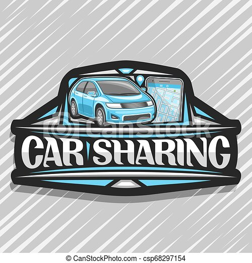 Vector Logo For Car Sharing Company Black Decorative Sticker With