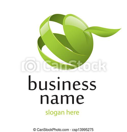 vector logo green apple - csp13995275