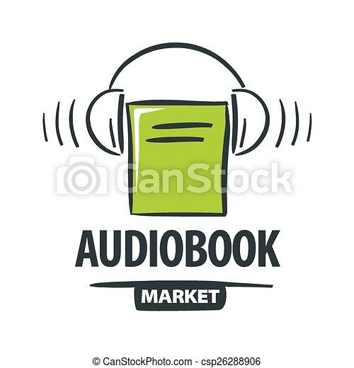 vector logo green book with headphones - csp26288906