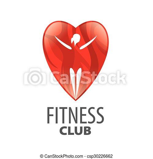 vector logo in red heart girl - csp30226662