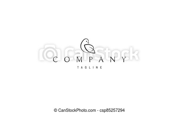Vector logo in which an abstract image of a bird with a wing similar to a leaf. - csp85257294