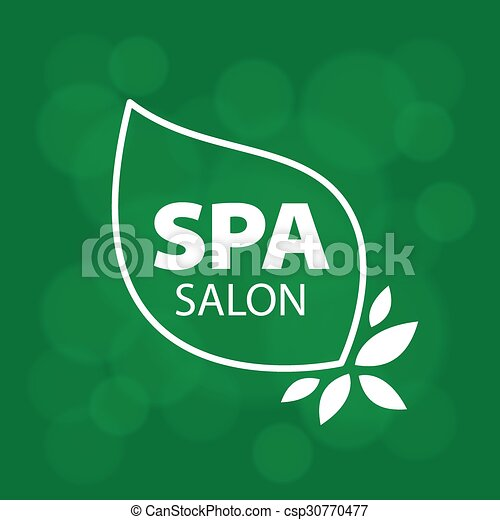 vector logo leaves on green background - csp30770477