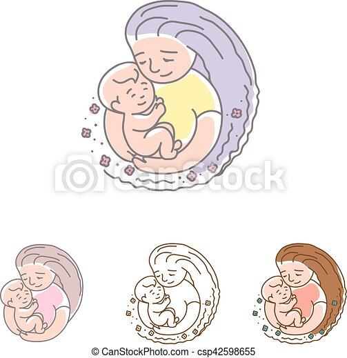 Vector logo - mother with baby. Happy Mothers Day. - csp42598655