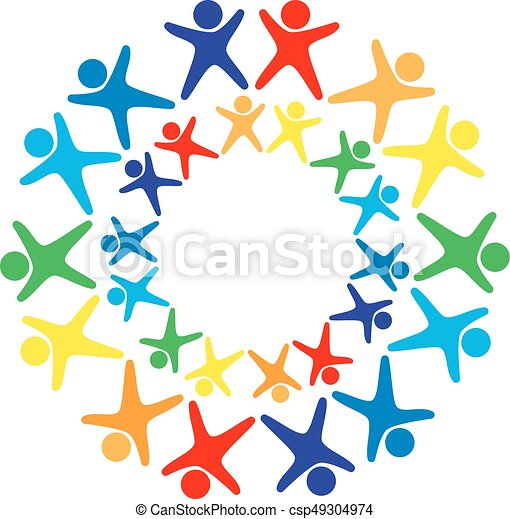 vector logo of many human figures of all colors of the rainbow with