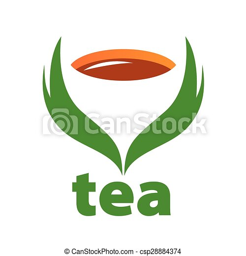 vector logo tea and green leaves - csp28884374