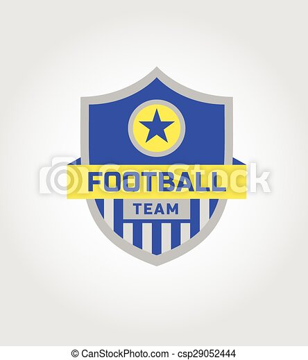Vector Logo Template Soccer Football Team The Ball With A Star On Shield Isolated Light Background Heraldic Style Blue Yellow And Gray