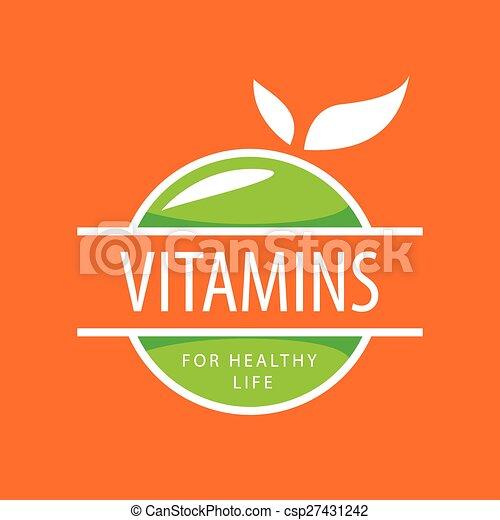 vector logo vitamins green apples - csp27431242