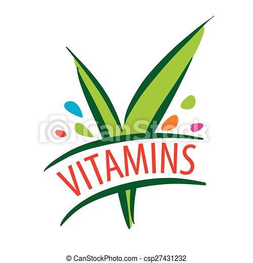 vector logo vitamins green leaves - csp27431232