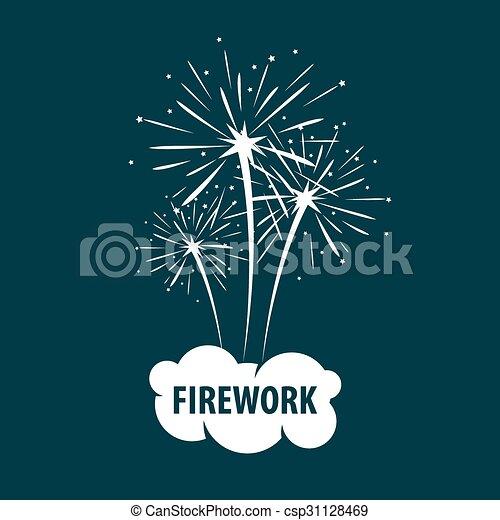 vector logo white cloud and firework rh canstockphoto com standard fireworks logo vector tnt fireworks logo vector