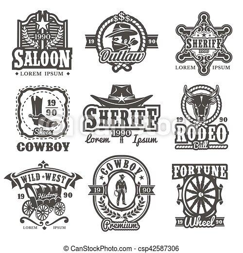 Logos del oeste salvaje - csp42587306