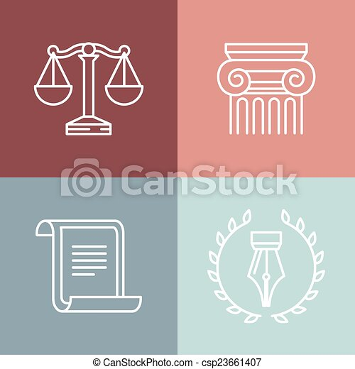 Vector conjunto de logos jurídicos y legales - csp23661407