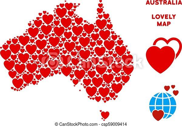 Australia Map Template.Vector Love Australia Map Mosaic Of Hearts