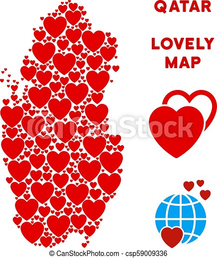 Vector love qatar map composition of hearts. Lovely qatar map ...
