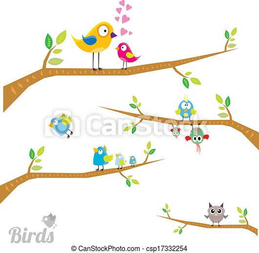 Vector lovely Birds on branch - csp17332254