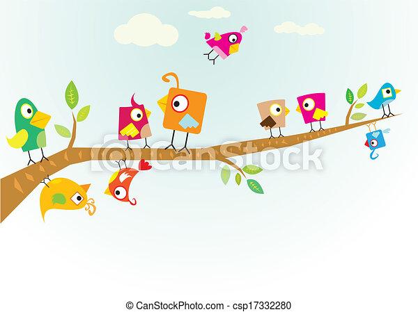 Vector lovely Birds on branch - csp17332280