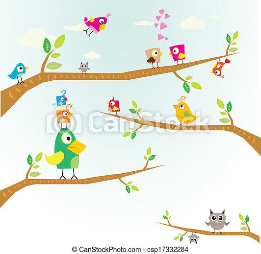Vector lovely Birds on branch - csp17332284