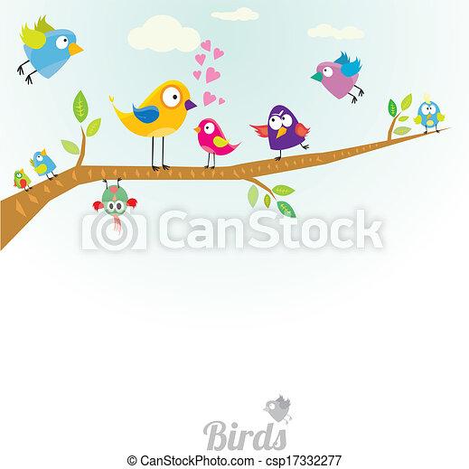 Vector lovely Birds on branch - csp17332277