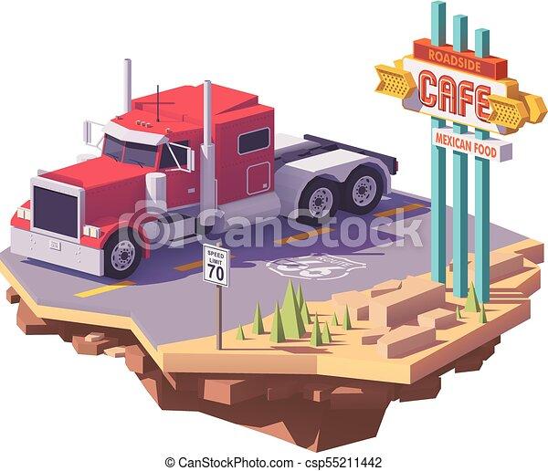 Vector low poly american classic semi truck - csp55211442