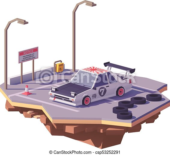 Vector low poly classic drift car - csp53252291