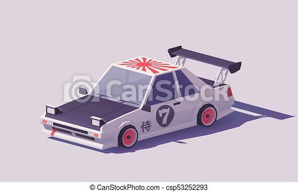 Vector low poly classic drift car - csp53252293