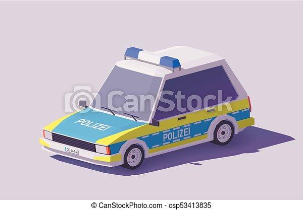 Vector low poly German police car - csp53413835