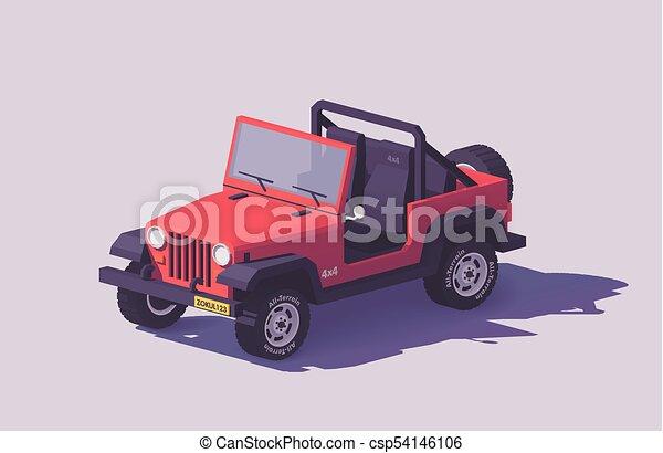 Vector low poly off-road 4x4 SUV car - csp54146106