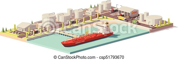 Vector low poly oil depot and oil tanker ship - csp51793670