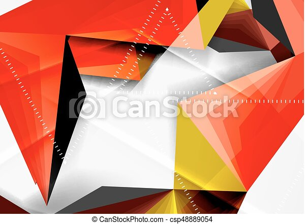 Vector low poly style 3d triangle line - csp48889054